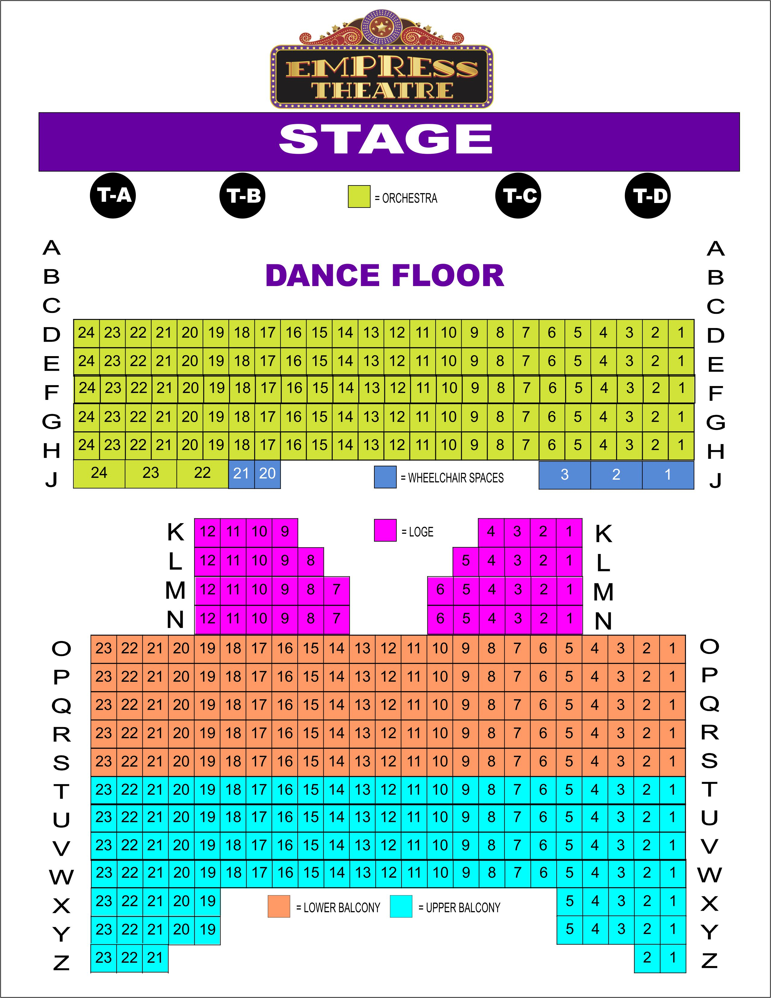 Empress Theatre - Seating Layout with Tables & Dance Floor